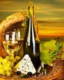 Cena romántica del vino y del queso al aire libre Foto de archivo libre de regalías