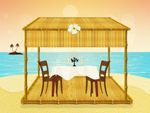 Cena romántica en la playa del th libre illustration