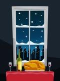 Cena romantica con il tacchino sulla tavola vicino alla finestra royalty illustrazione gratis