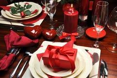 Cena romántica de la tarjeta del día de San Valentín para dos Foto de archivo