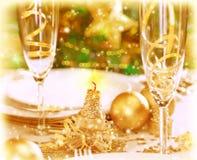 Cena romántica de Navidad Imágenes de archivo libres de regalías