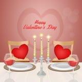 Cena romántica para el día de tarjetas del día de San Valentín Imagen de archivo libre de regalías
