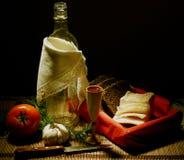 cena rural con la vodka Fotografía de archivo libre de regalías