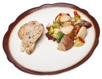 Cena sana del pollo de la porción Foto de archivo libre de regalías