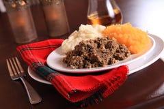 Cena scozzese di Haggis Fotografie Stock