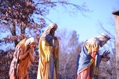 Cena tamanho real impressionante da natividade - três homens sábios Fotos de Stock Royalty Free