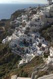 Cena típica do console grego de Santorini Fotografia de Stock Royalty Free