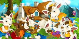 Cena tradicional feliz e engraçada da exploração agrícola - fase para o uso diferente ilustração stock