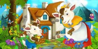 Cena tradicional feliz e engraçada da exploração agrícola com cabras - mãe e filho - fase para o uso diferente Foto de Stock