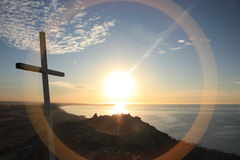 Cena transversal da costa do por do sol Fotografia de Stock