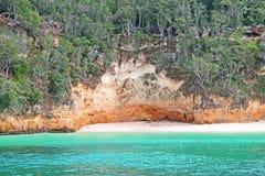 Cena tropical da praia em Cayo Saetia, Cuba imagem de stock