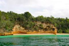 Cena tropical da praia em Cayo Saetia, Cuba fotografia de stock