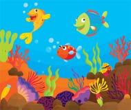 Cena tropical dos peixes ilustração royalty free