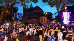 Cena urbana aglomerada, feriado de Vietname Imagens de Stock