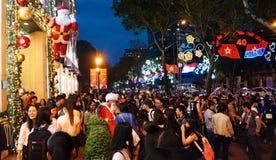 Cena urbana aglomerada, feriado de Vietname Imagem de Stock Royalty Free