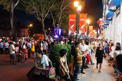 Cena urbana aglomerada, feriado de Vietname Foto de Stock