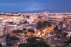 Cena urbana da noite de Roma Imagem de Stock