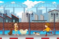 Cena urbana das crianças e dos animais de estimação ilustração royalty free