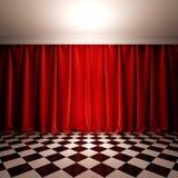 Cena vazia com a cortina vermelha de veludo. ilustração do vetor