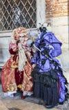 Cena Venetian dos trajes Fotos de Stock Royalty Free