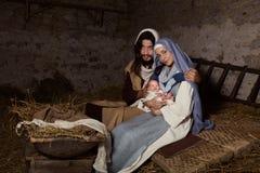 Cena viva da natividade no comedoiro fotos de stock royalty free