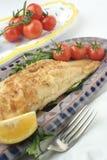 Cena y ensalada de los pescados; discos de cerámica fotografía de archivo libre de regalías
