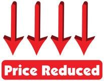 Cena Zmniejszający pojęcie czerwony strzałkowaty wskazywać w dół jest równy pri Fotografia Stock