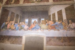 Cenacolo Painting Milan. Milan, Italy - November 15, 2016: The Last Supper mural painting, Cenacolo Vinciano, the Milan`s famous masterpiece by Leonardo da Vinci stock images