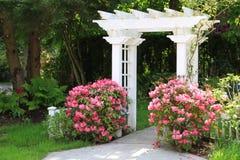 Cenador del jardín y flores rosadas. Foto de archivo libre de regalías