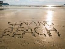 Cenang beach written on sand beach, Langkawi. Malaysia royalty free stock photos