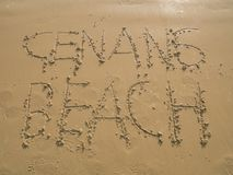 Cenang beach written on the sand beach, Langkawi, Malaysia. Cenang Beach Written on the Sand Beach When Sunrise, Langkawi, Malaysia Stock Images