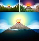 Cenas com o vulcão na floresta e no oceano ilustração royalty free