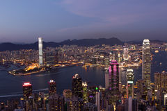 Cenas da noite de Hong Kong Imagens de Stock Royalty Free