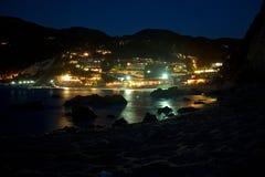 Cenas da noite do mar de Lefkada Imagem de Stock