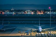 Cenas do amanhecer no airpor do international de San Jose Califórnia Imagem de Stock