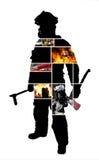 Cenas do sapador-bombeiro com uma silhueta de um sapador-bombeiro de levantamento Fotografia de Stock Royalty Free