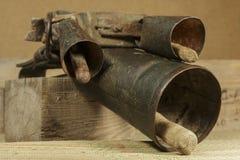 Cencerros típicos usados en shepherding y ganado desde épocas antiguas Fotos de archivo libres de regalías
