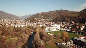 Cene, Bergamo, Italy. Drone aerial view of the city. In autumn time stock video