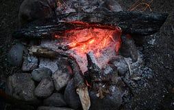 Ceneri di fuoco senza fiamma di un falò Immagine Stock