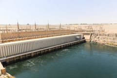 Aswan Dam in High Dam - Egypt. Cenery around the Aswan Dam with hydroelectric power plant in Aswan Egypt stock photos