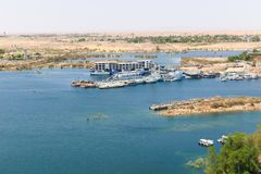 Aswan from top - Egypt. Cenery around the Aswan Dam with hydroelectric power plant in Aswan Egypt stock images