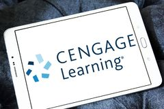 Cengage company logo. Logo of Cengage company on samsung tablet. Cengage is an educational content, technology, and services company for the higher education, K stock photography