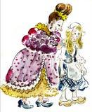 Cenicienta y su madrastra stock de ilustración