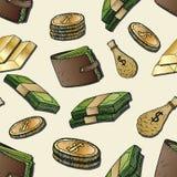Cenni storici dei soldi Elementi disegnati a mano Immagine Stock