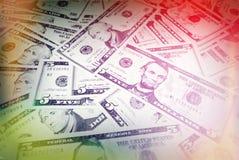 Cenni storici delle fatture del dollaro Fondi misti U.S.A. Versione d'annata Fotografie Stock Libere da Diritti