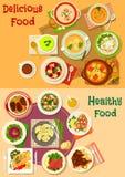 Cenografia do ícone dos pratos da sopa, da salada e da carne ilustração stock