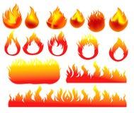 Cenografia dos ícones do fogo Fotos de Stock Royalty Free