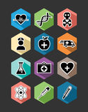 Cenografia lisa dos ícones dos cuidados médicos médicos Fotos de Stock Royalty Free