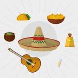 Cenografia mexicana do ícone do alimento Imagem de Stock Royalty Free