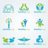 Cenografia saudável azul e verde do vetor do logotipo ilustração royalty free